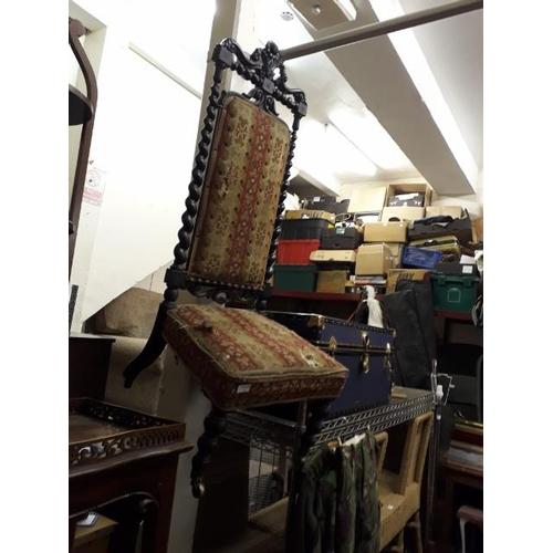 51 - Ladies Barley Twist Heavily Carved Bedroom Chair Needs T L C...