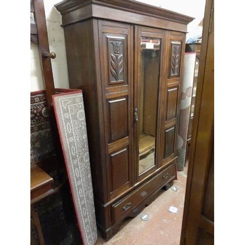 31 - Edwardian Mirror Doored Mahogany Wardrobe...