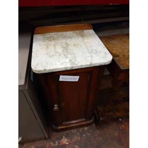 59 - Edwardian Mahogany Marble Topped Pot Cupboard...