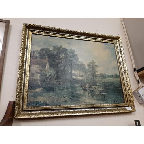 13 - Framed Print Of Horses Crossing A River...