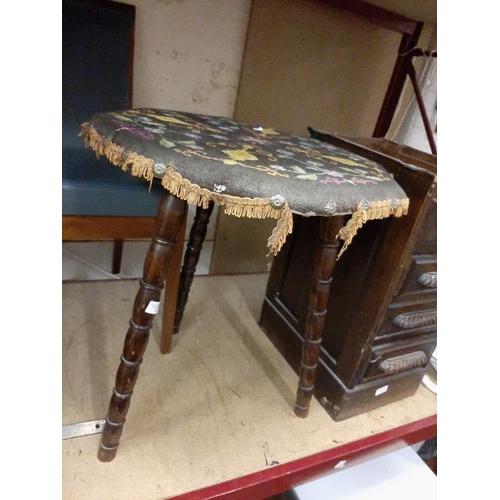 50 - Gypsy Style Bobbin Legged Tapestry Upholstered Table...