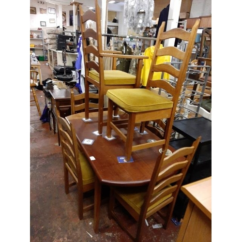 55 - Modern Drop Leaf Table With 6 Chairs...