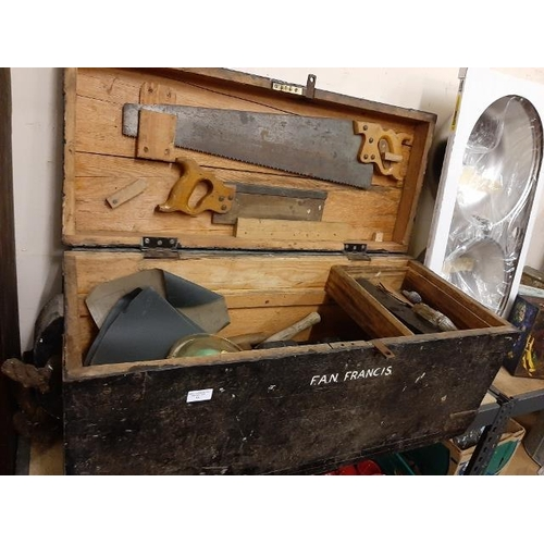 11 - Military Pine Work Box Plus Contents