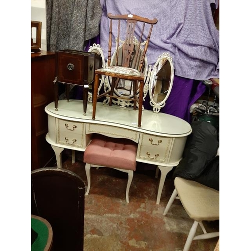 32 - Louis 14Th Style Kidney Shaped Dressing Table With Mirror And Stool