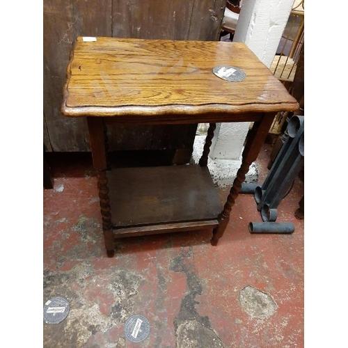 40 - Darkwood Barley Twist Table With Shelf Below
