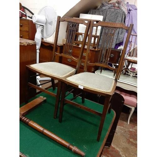 52 - 2 Mahogany Inlaid Matching Bedroom Chairs