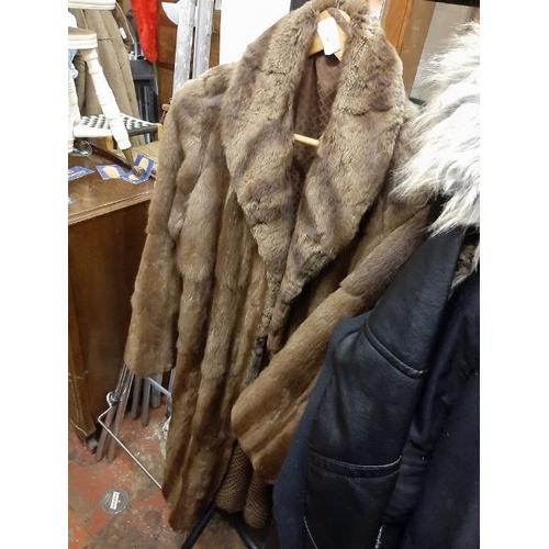 49 - Vintage Long Brown Fur Coat...