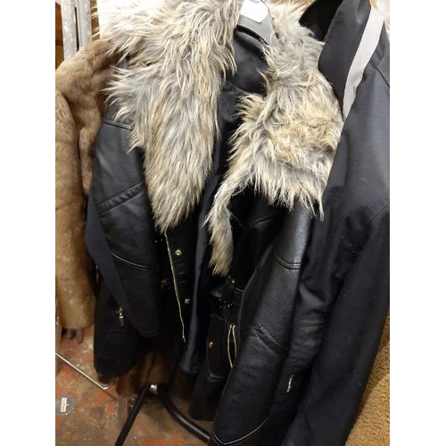 50 - Black Leatherette Coat With Fur Collar Size 14...