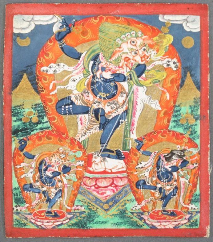 A TSAKLI DEPICTING SIMHAVAKTRA Tibet, 19th century pigment