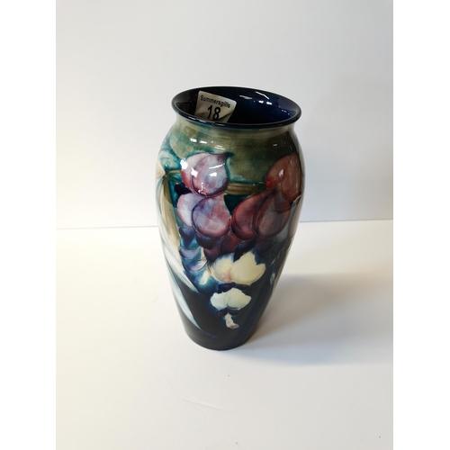 18 - Moorcroft Burslem Vase height 25.5 cm Diameter 10cm