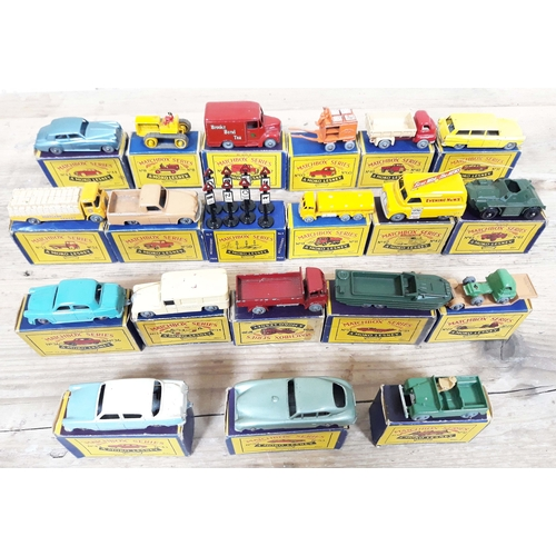 266 - A group of 20 Moko Lesney Matchbox Series die cast model vehicles and accessories with boxes, includ...