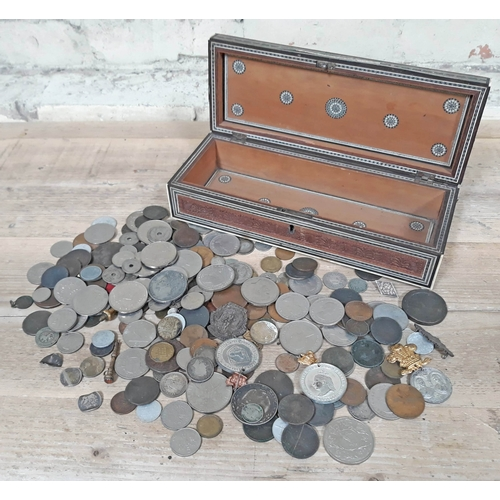 272 - A 19th Century Vizagaptam box and contents including various coins, tokens, badges and medals, 19th ...