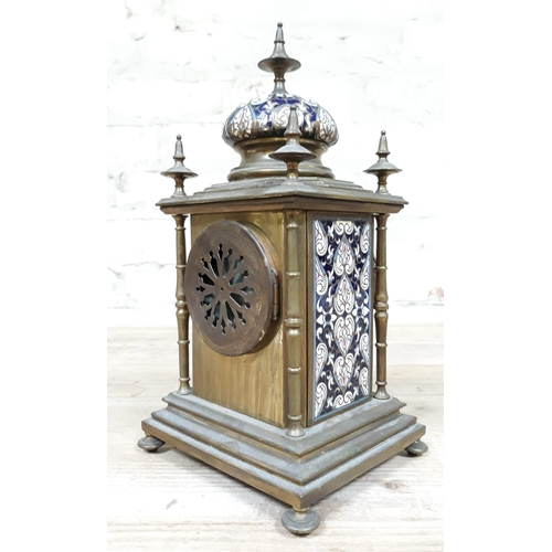 68 - A French late 19th Century champleve enamel and brass mantle clock, height 29cm....