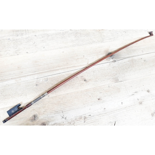 83 - A French silver mounted violin bow stamped 'J Thibouville-Lamy A Paris', length 74.7cm....