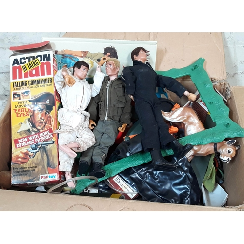 389 - A box of mainly Action Man figures and other toys....