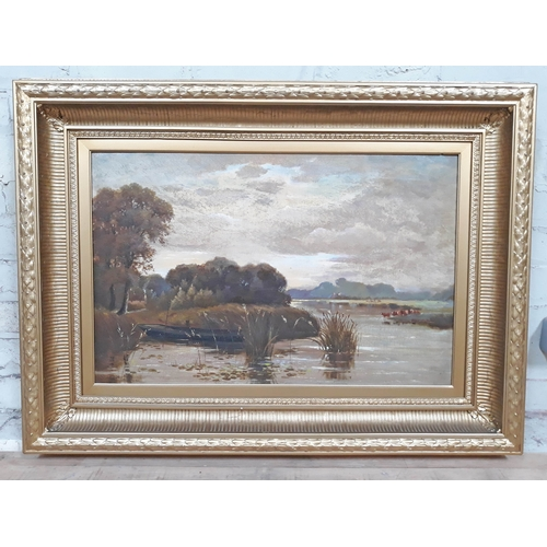 49 - Spencer Leese (British fl1882-1892), boat and cattle on river, oil on canvas, 70cm x 45cm, signed, f...