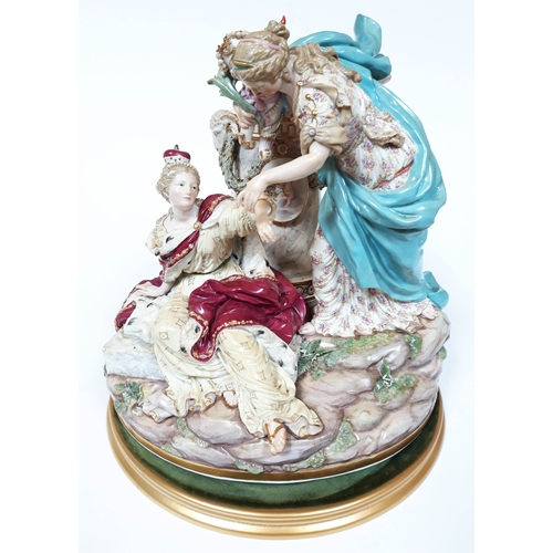 1 - A late 19th Century Meissen figure group depicting a fallen female figure wearing a crown, above her...
