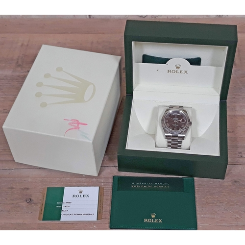 110 - A Rolex Day-Date 40mm 18ct white gold wristwatch having chocolate dial with Roman numerals, Presiden...