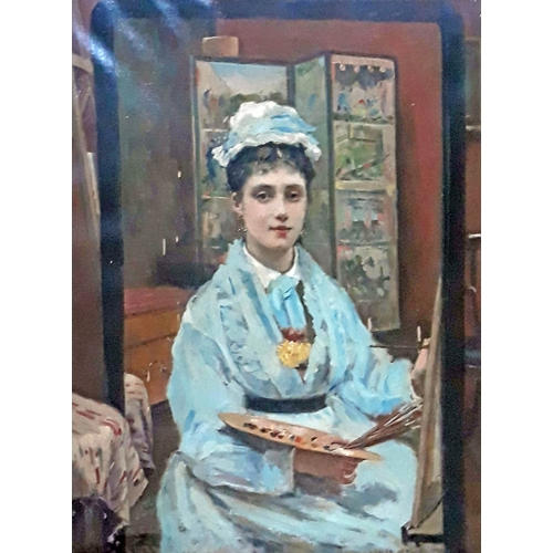 50 - Louise Jopling (1843-1933), self portrait, three quarter length depicting the artist painting hersel...