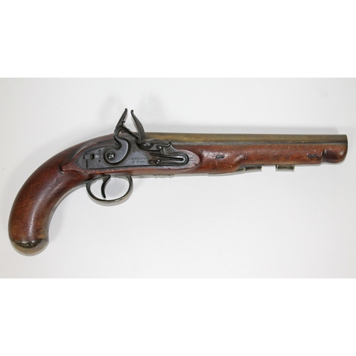 1 - A William IV Royal Mail Coach Guards flintlock pistol by J. Harding & Son with walnut stock, the 23c...
