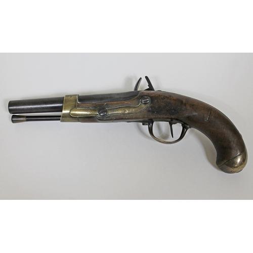 2 - An early 19th Century French military flintlock pistol having brass mounted 3/4 length walnut stock,...
