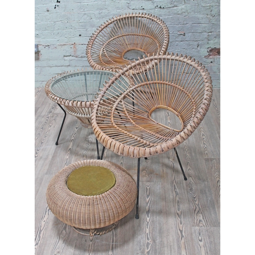 33 - A suite of wicker and metal frame furniture comprising two chairs, two high stools, a glass top coff...