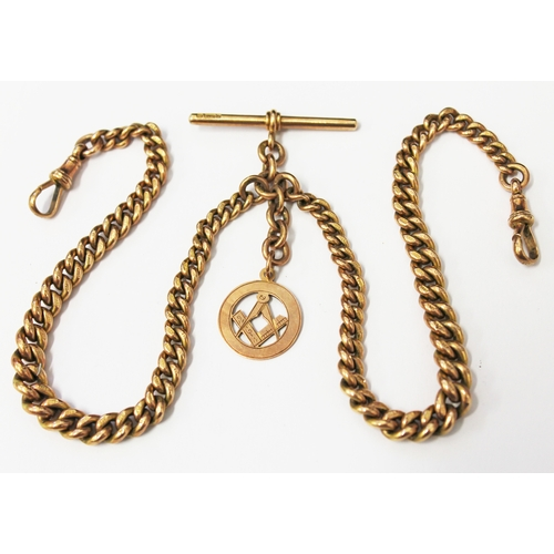 129 - A hallmarked 9ct gold double Albert chain with 9ct gold Masonic fob, each link marked '375', T bar w...