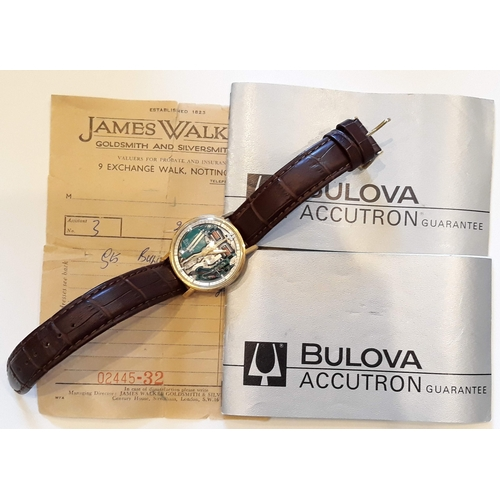 169 - A 1960s gold plated Bulova Accutron wrist watch, diam. 35mm, marked '40 SAD' with original box, book...