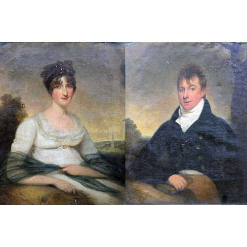 1 - Circle of Sir Thomas Lawrence PRA (1769-1830), three quarter length portraits depicting a lady and g...