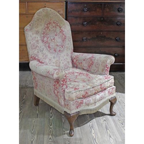 14 - A Queen Anne style armchair, width 75cm, depth 84cm & height 102cm....