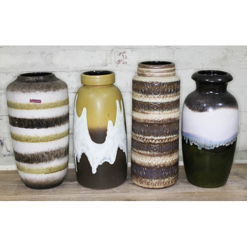 18 - A group of four West German pottery vases, tallest 41cm....