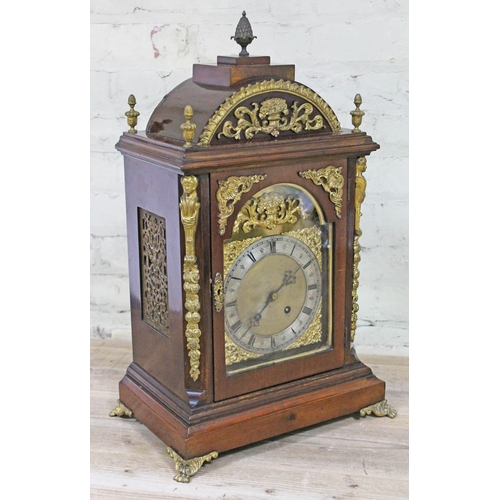 2 - A late 19th Century Continental gilt metal mounted bracket clock, height 62cm....