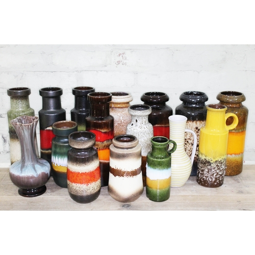 21 - A group of sixteen small West German pottery vases, tallest 32cm....