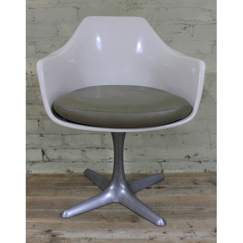 28 - An Arkana white fibreglass swivel chair on aluminium base, height 80cm...