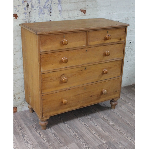 3 - A 19th Century pine chest of drawers with turned knobs and feet, width 109cm, depth 52cm & height 10...