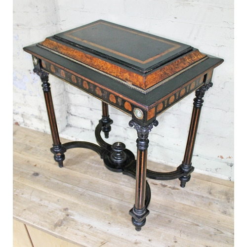 30 - A 19th Century French ebonised and amboyna plant table or jardiniere, gilt metal with cameo panels, ...
