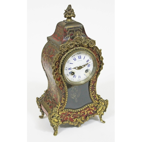 32 - A French late 19th Century boulle mantle clock, the dial and movement inscribed 'Hatton Paris', heig...