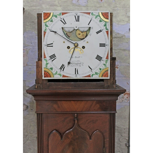 34 - A George III mahogany eight day long case clock, swan pediment with turned finials, hood with turned...