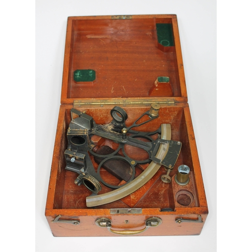 36 - A cased brass sextant inscribed 'Stevenson & Harris Aberdeen'....