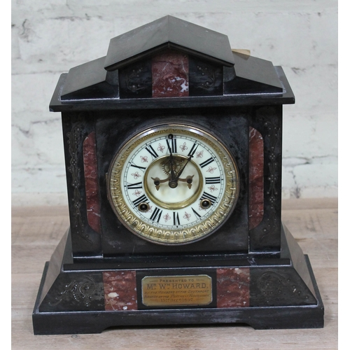 45 - A late 19th Century black slate and marble architectural mantle clock with Brocot escapement, height...