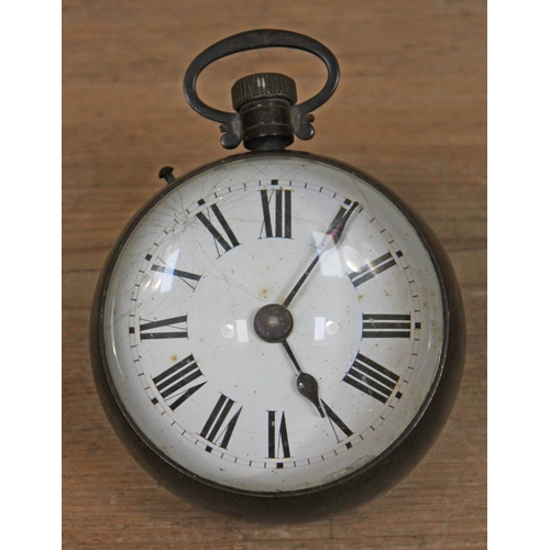 46 - A glass and brass 'bullseye' clock circa 1900, length 15cm....