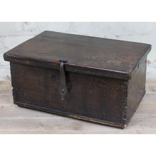 6 - A 17th Century and later bible box, length 47cm, containing a Victorian photograph album....
