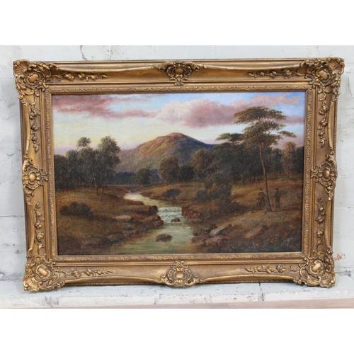 87 - 19th century school, mountain scene, oil on canvas, 59cm x 39cm, indistinctly signed, fancy frame 75...