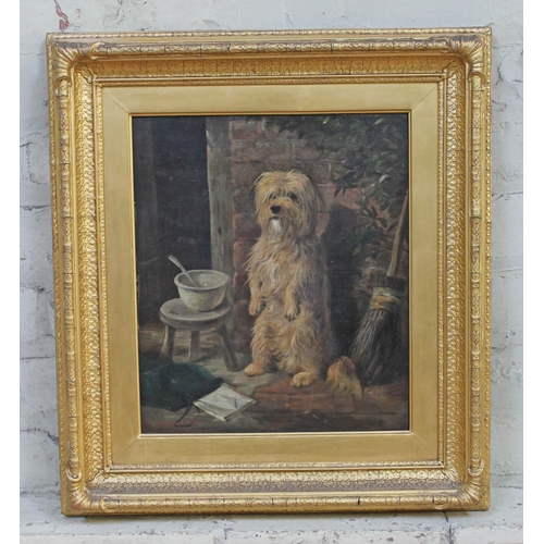 88 - William Elstob Marshall (act. 1859-1880), dog, oil on canvas, 30cm x 35cm, signed and dated 1871, fr...