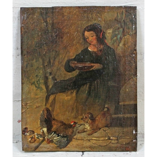 89 - 19th century school, manner of Louis Eugene Lambert, woman feeding chickens with dog, oil on panel, ...