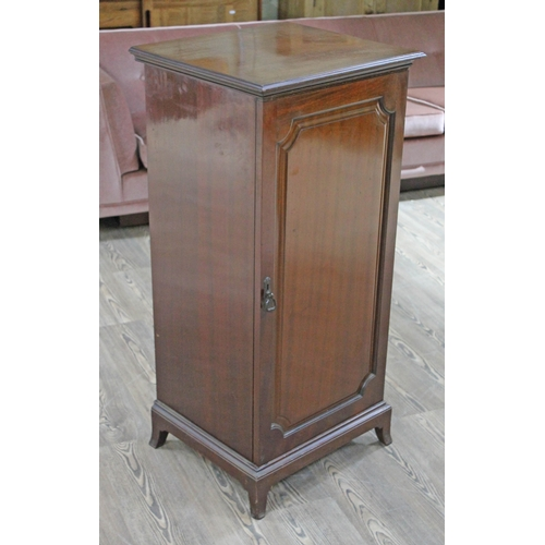 18 - An Edwardian mahogany music cabinet containing approx. 67 pianola rolls, width 51cm, depth 46cm & he...