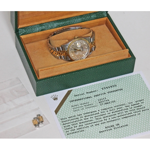 256 - A Rolex Oyster Perpetual Datejust 36mm bi-metal gold and stainless watch with diamond and mother of ...