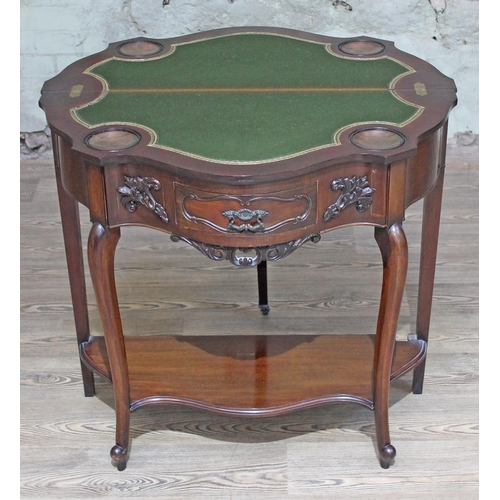 28 - An Edwardian mahogany games table, green baize lined with gilt border and copper chip wells, cabriol...