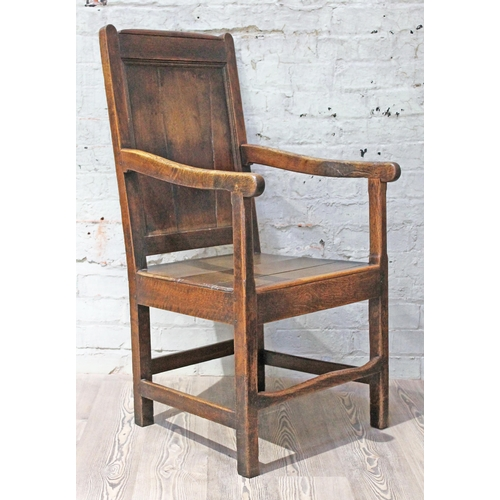 30 - A Georgian 18th century oak armchair, width 56cm, depth 64cm & height 107cm....