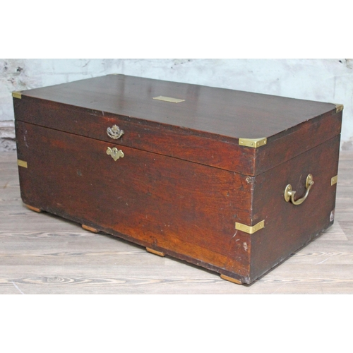 31 - A 19th century brass bound chest with loop brass handles, possibly military, length 98cm....